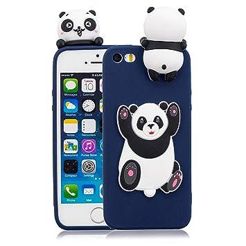 Funluna Funda iPhone SE / 5S / 5, 3D Big Panda Patrón Cover Ultra Delgado TPU Suave Carcasa Silicona Gel Anti-Rasguño Protectora Espalda Caso Bumper ...