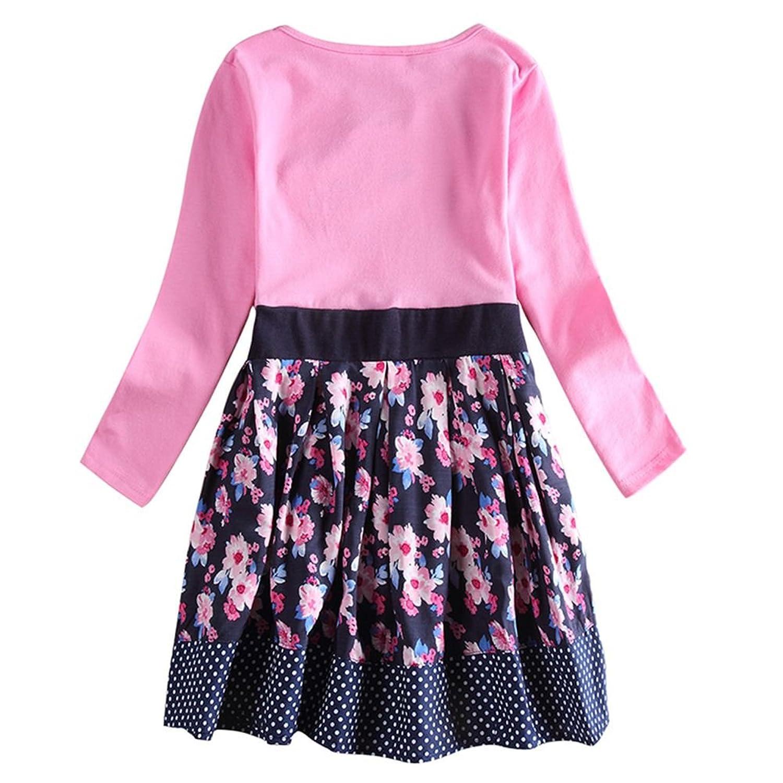 Amazon Novatx Long Sleeve Cotton Baby Girl Dress H6241 Pink