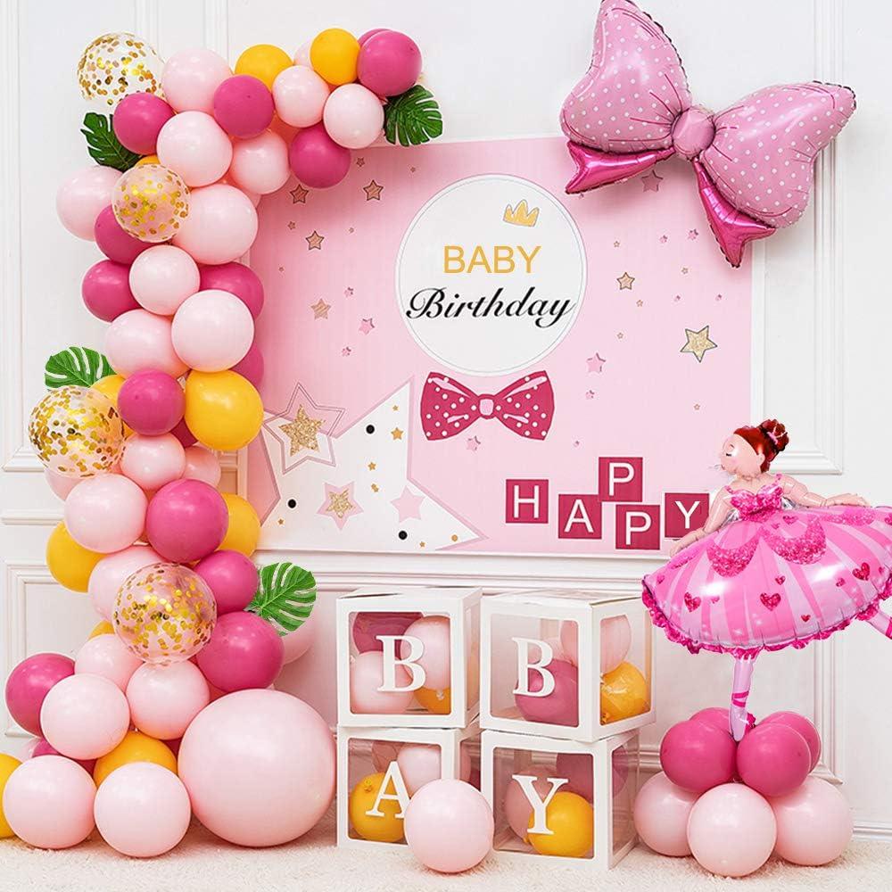 Globos L/átex Rosa Ballet Ni/ña Globos con Banner Feliz Cumplea/ños Cake Topper Lollipop Globos para Infantiles Dama Cumplea/ños Decoraci/ón MMTX Globos de Cumplea/ños Decoracion Kit para Ni/ña