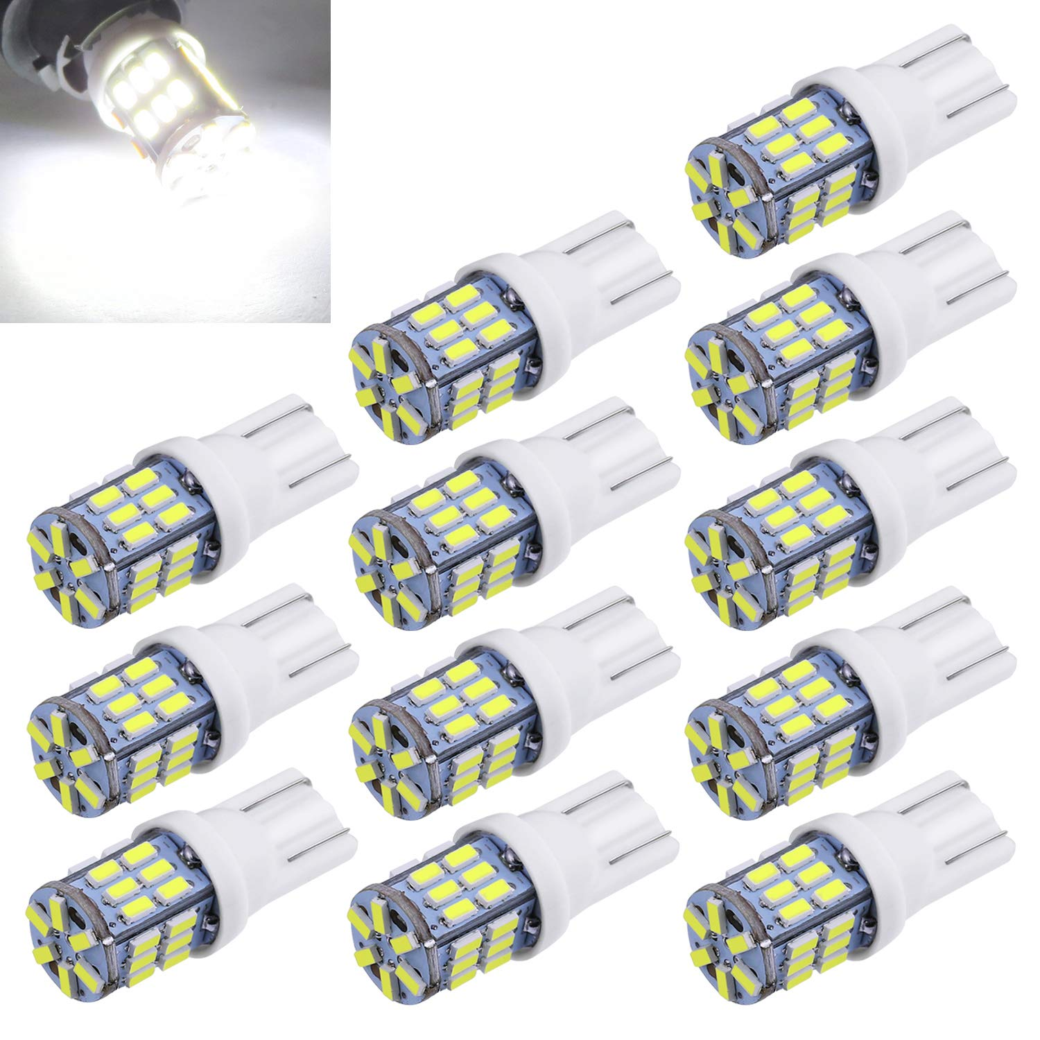 SMD LED Light 12V Car Interior Lighting For Map Dome Lamp Courtesy Trunk License Plate Dashboard Lights Aucan LED 50-Pack Blue Replacement 194 T10 168 2825 W5W 175 158 Bulb 5050 5
