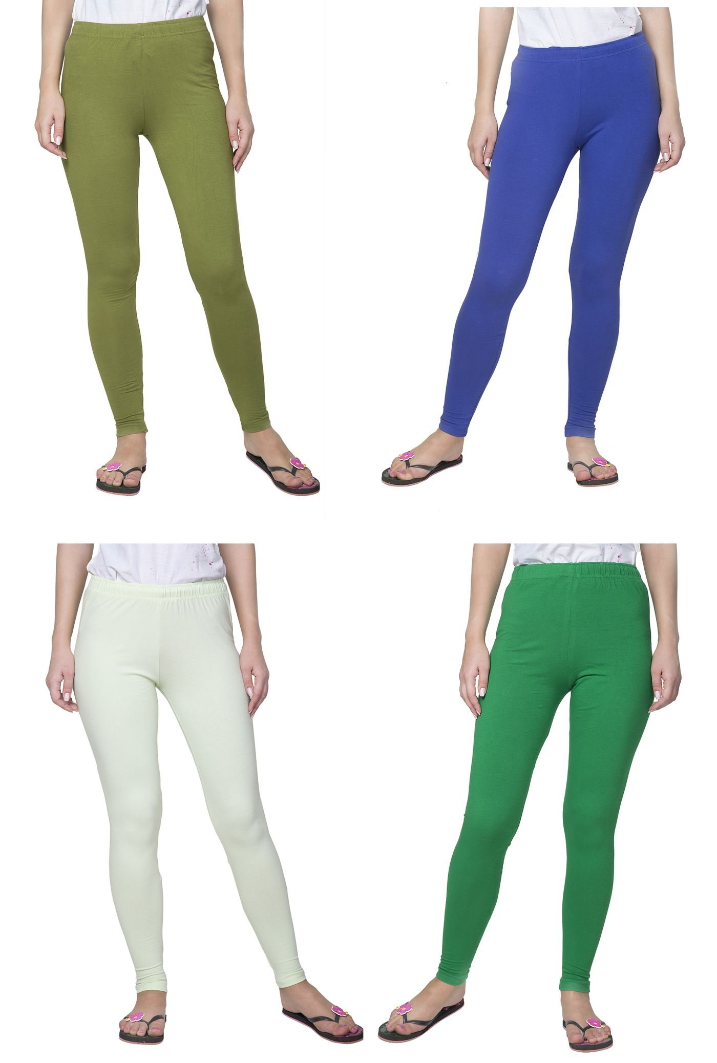 Clifton Women's Cotton Spandex Fine Jersey Leggings Pack Of 4-Assorted-3-6XL