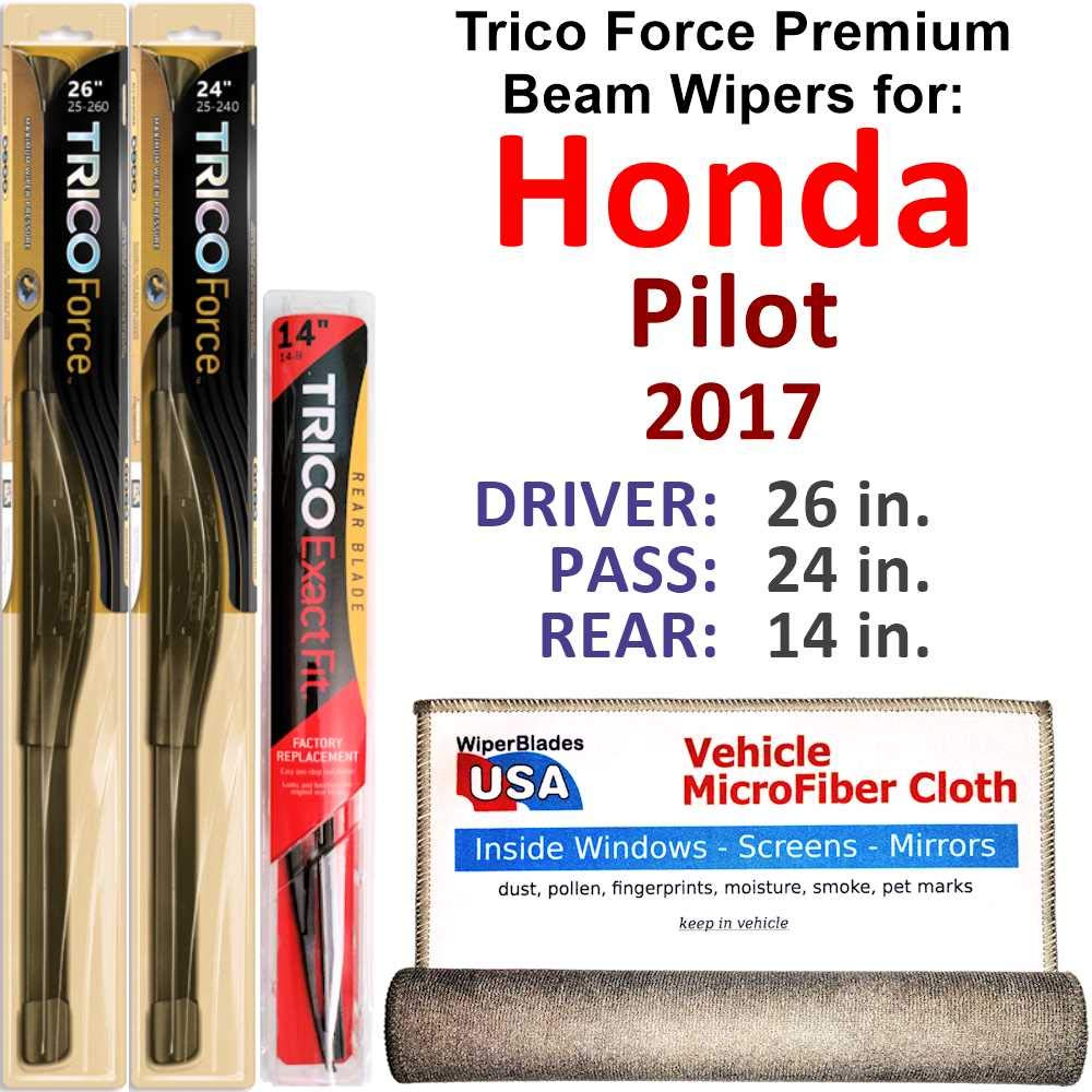 Premium Beam Wiper Blades for 2017 Honda Pilot Driver/Passenger/Rear Trico Force Beam Blades Wipers Set Bundled with MicroFiber Interior Car Cloth by WiperBladesUSA
