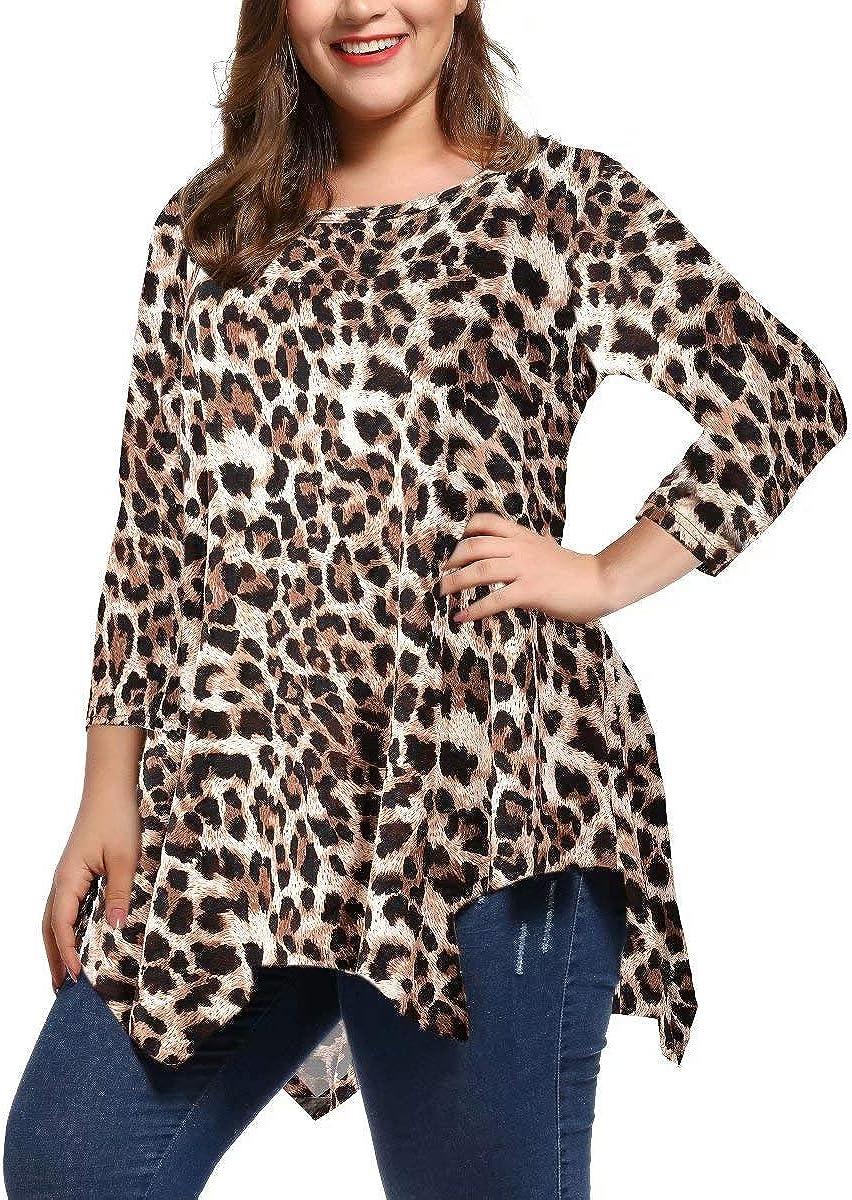 LARACE Women Plus Size 3//4 Sleeve Tunic Tops Loose Basic Shirt