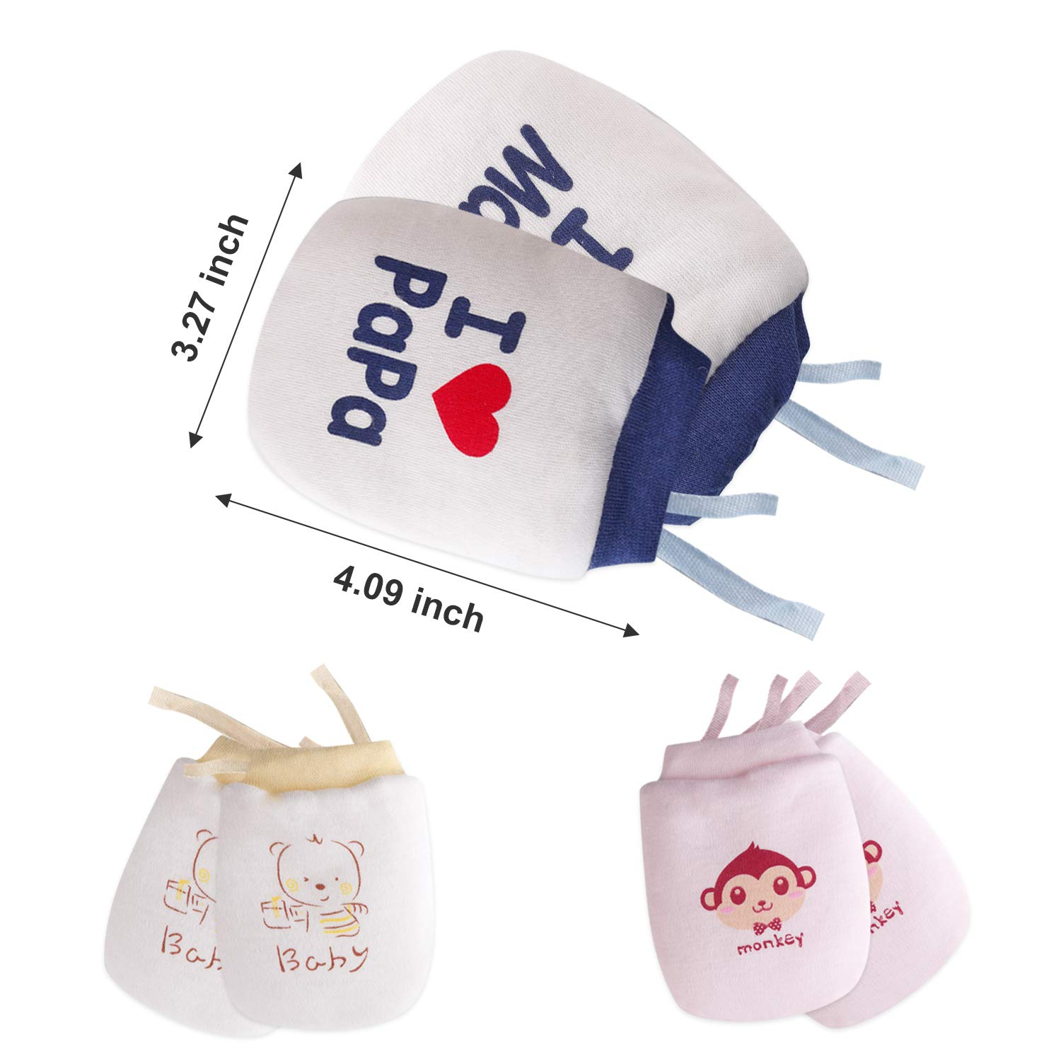 Baby Mittens Winter Newborn Boys and Girls Gloves Coral Fleece/Lined/for 0-12 Months Infant 3 Pairs Cute No Scrach
