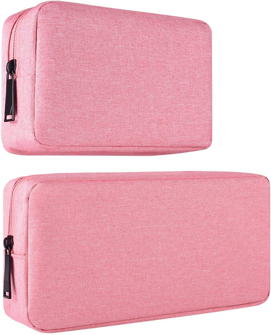 2-PACK Accessories Bag for Women Ladies Travel Organizer, Big+Small Portable Storage Bag Pouch Electronics Accessories Carrying Case Cosmetic Bag for Hard Drive, Mouse, Cable, Adapter, Cellphone, Pink