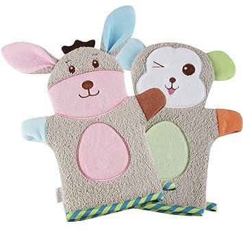 KAKIBLIN Cute Plush Animal Baby Bath Gloves Toddler Soft Baby Wash Mitt Baby Bath Towel Rabbit