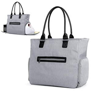 Luxja Breast Pump Tote with Pockets for Cooler Bag and Laptop, Leather Handles Breast Pump Bag for Working Mothers (Compatible with Most Major Breast Pump), Gray