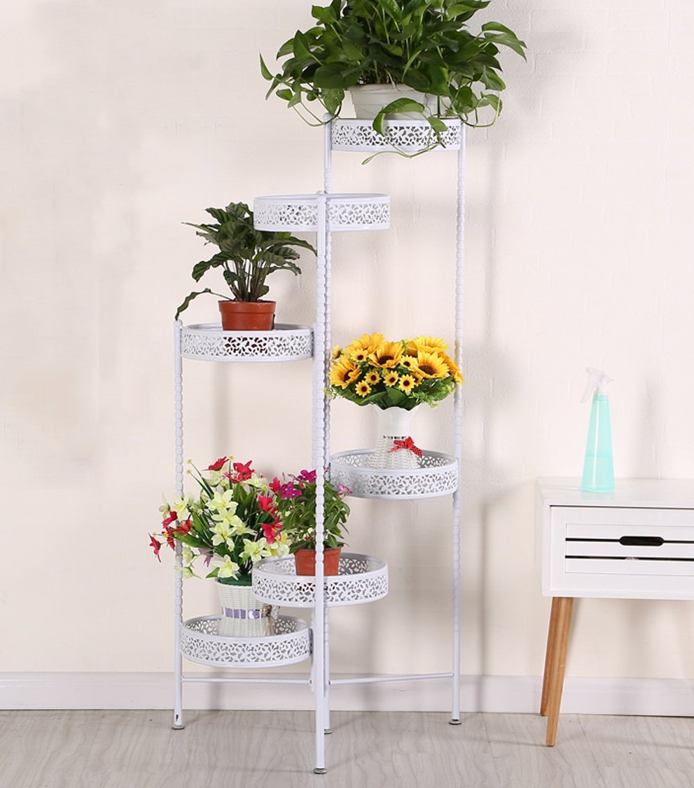 LB huajia ZHANWEI Eisen Blumen Racks Europäische Creative Balkon Wohnzimmer Vier Ebenen Blumentopf Rack Weiß