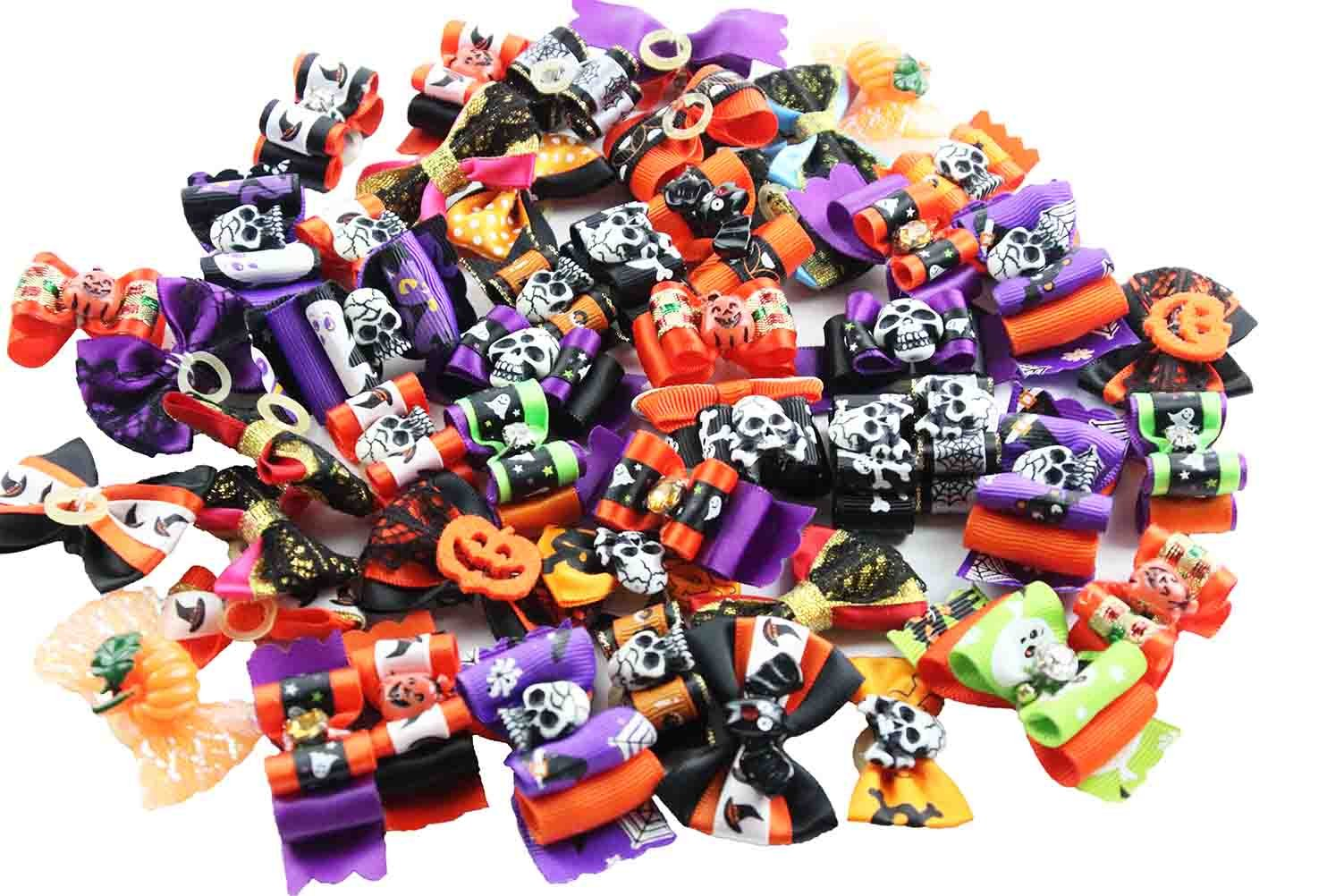 PET SHOW Halloween Pet Costume Dog Hair Bows with Rubber Bands Cat Puppy Grooming Hair Accessories Color Assorted Bulk Pack of 50