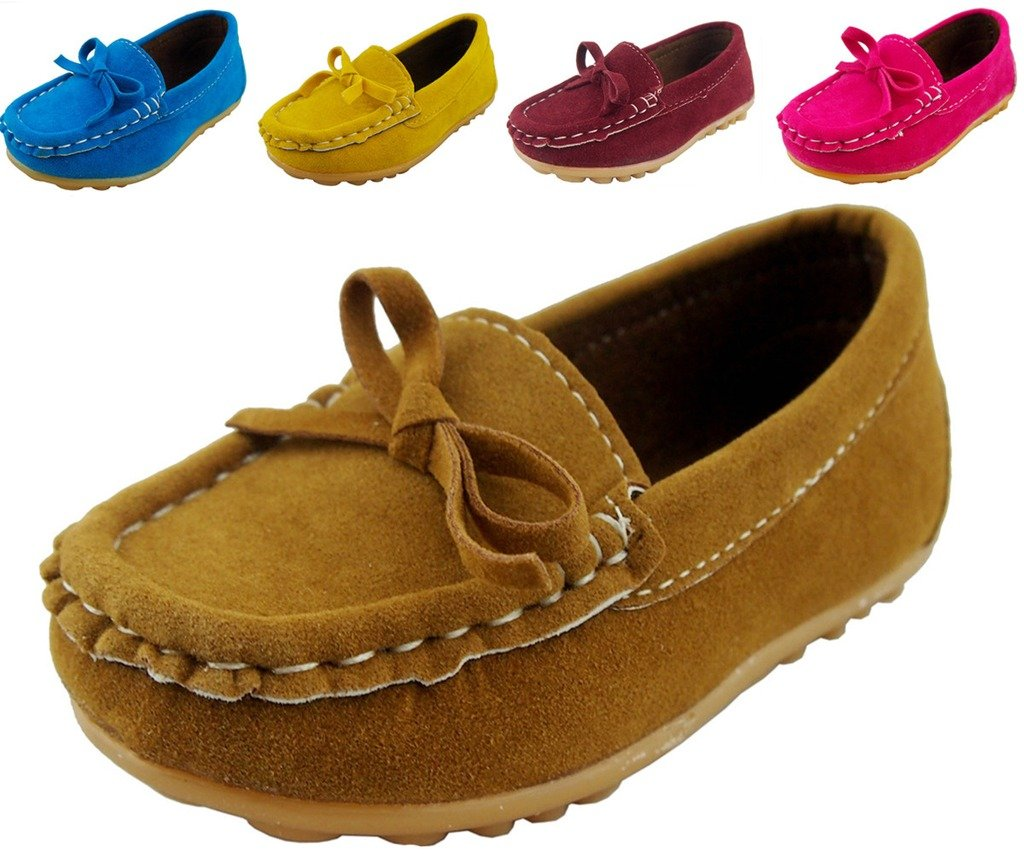 DADAWEN Boy's Girl's Adorable Bow Slip-On Loafers Oxford Shoes Brown US Size 11.5 M Little Kid