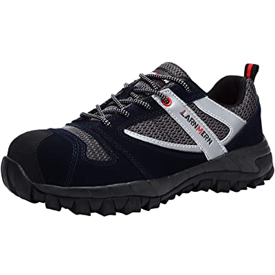LARNMERN Safety Steel Toe Shoes Men ESD Work Slip Resistant Lightweight Indestrutible Shoe Mens Reflective Static Dissipative Construction Outdoor Sneakers L9100(7.5 Men, Black Suede): Shoes