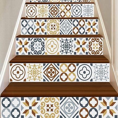 Adhesivos de Pared,6Pcs Escalera Escalera Elevador Suelo Pegatina Bricolaje Adhesivo Pared Moda Escaleras Adhesivo, 18CMX100CM (un) - B, one size: Amazon.es: Hogar