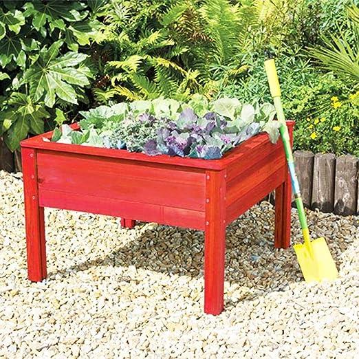 Junior jardín cuadrado rojo Raised maceta/cajón de arena Cuadro de los niños: Amazon.es: Jardín