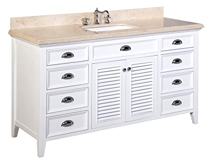 Kitchen Bath Collection KBC SH601WTMFL S Savannah Single Sink Bathroom  Vanity With Marble Countertop