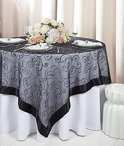 Wedding Linens Direct.Wedding Linens Inc 85 Square Embroidered Organza Sheer Table Overlays Toppers Organza Tablecloths Table Covers Linens For Wedding Party Banquet