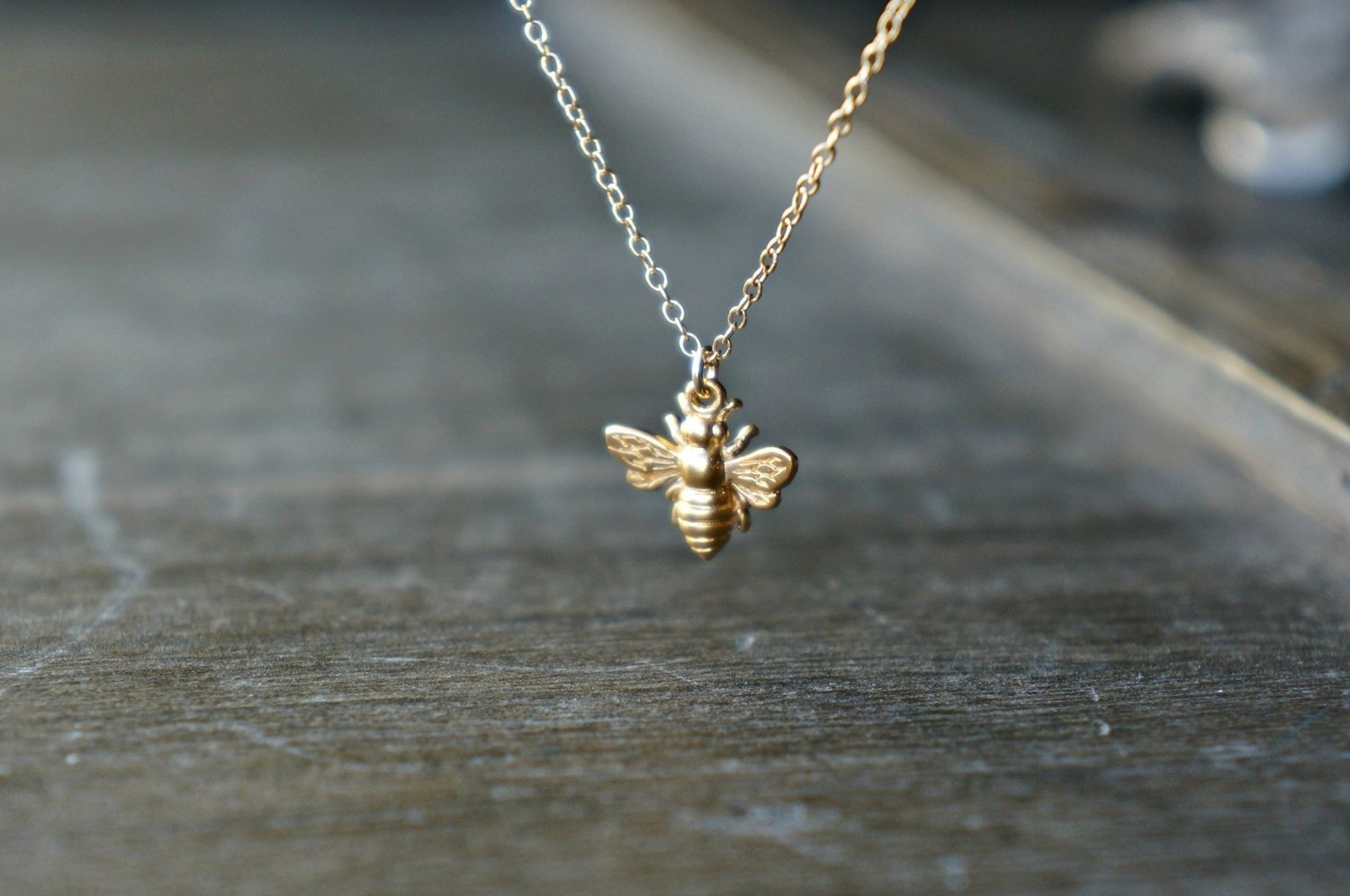 Little Gold Bee Necklace 24k Vermeil Honeybee/Bumblebee Charm Simple Everyday Jewelry Bridesmaid Gift Garden Themed Wedding Save the Bees