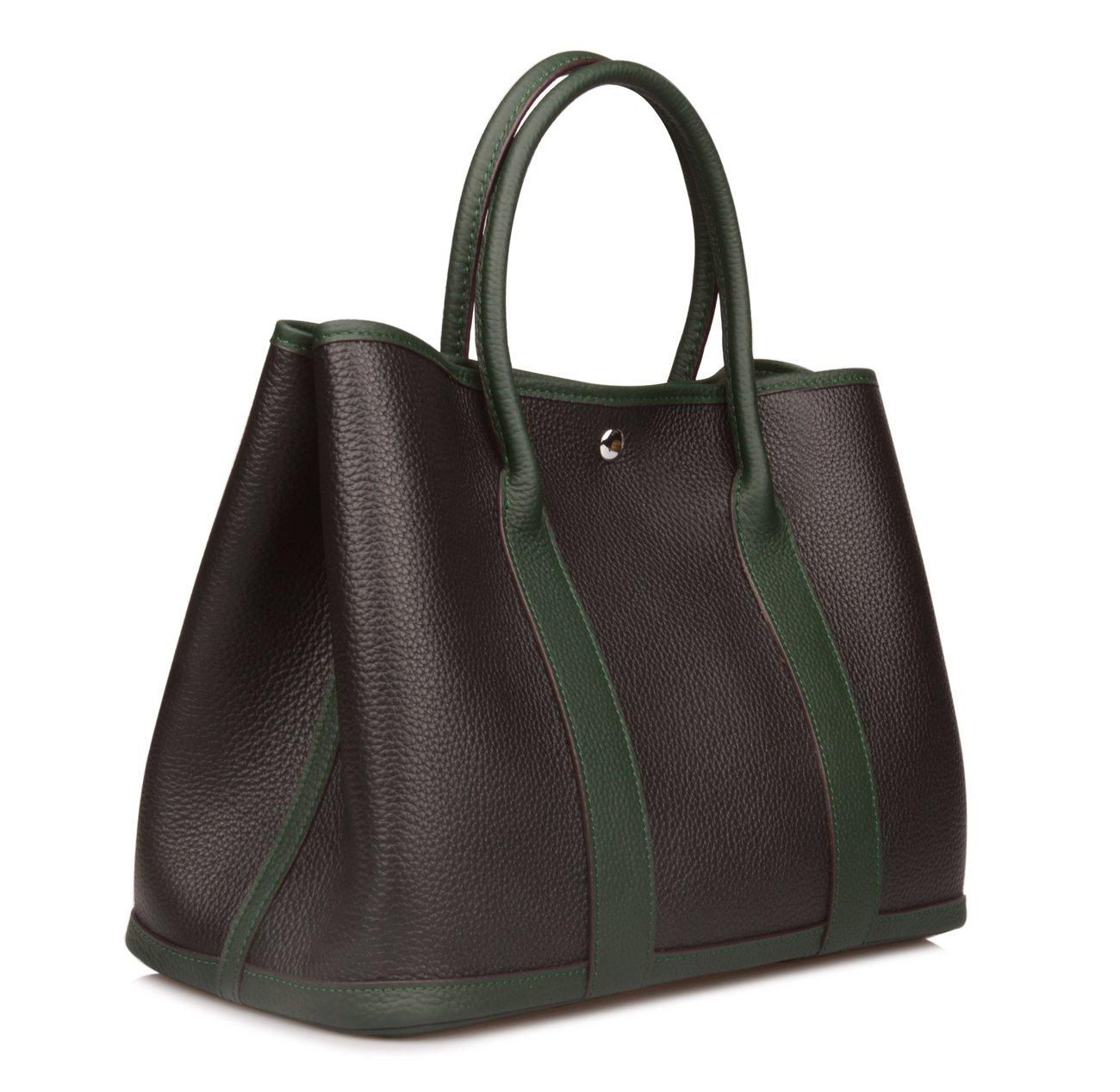 Ainifeel Women's Genuine Leather Top Handle Handbag Shopping Bag Tote Bag (Black/green)