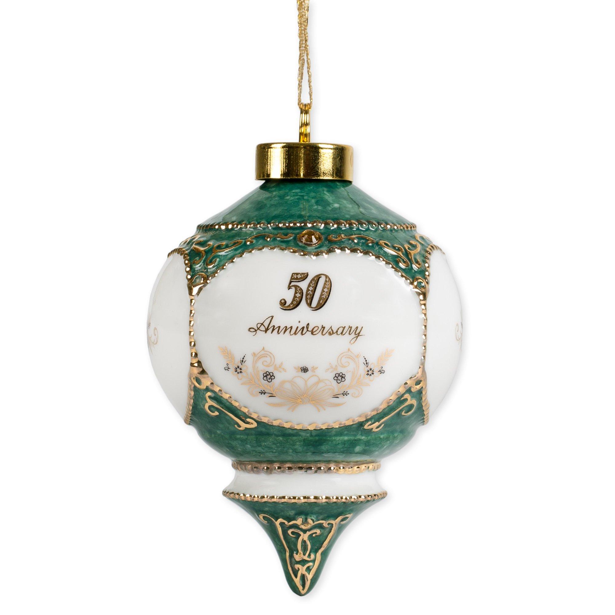 Happy 50th Wedding Anniversary Jewel Victorian 4.5 Inch Ball Hanging Ornament