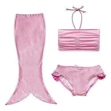6804c8fdfb Discoball Girls Mermaid Tail Swimwear Fancy Costume Sea-Maid Halter Top  Bikini Briefs Swimsuit Dress 9-10 Years Pink: Amazon.co.uk: Clothing