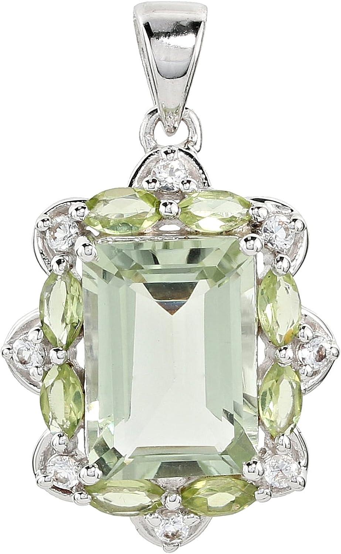 /Argent 925//1000/rhodi/é prasiolith p/éridot Blanc Topaze HARRY IVENS Pendentif Femme/ /Pendentif Femme/