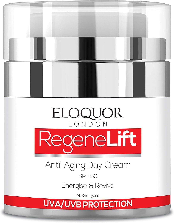 Eloquor RegeneLift crema de día antiedad con SPF   Crema hidratante facial con retinol, ácido hialurónico y vitaminas para arrugas, líneas finas y piel sensible   Natural, orgánico y libre de crueldad