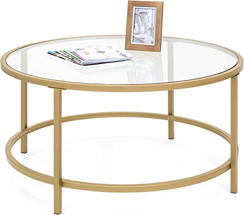 Best Choice Products Round 36in Tempered Glass Coffee Table w Satin Gold Trim for Home, Living Room, Dining Room