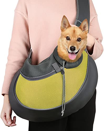 TTWO Pet Sling Carrier Bag, Hand-free Dog Cat Outdoor Travel Shoulder Bag with Adjustable Strap Zipper L, Yellow