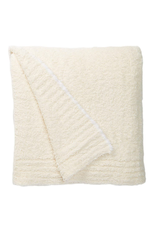 Barefoot DreamsコントラストトリムThrow Blanket 45 x 60クリーム&ホワイト B01L7R8M0Y