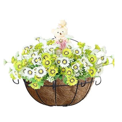 balcony flower baskets Amazoncom Mynse Silk Daisy Flower Basket Decorative Home