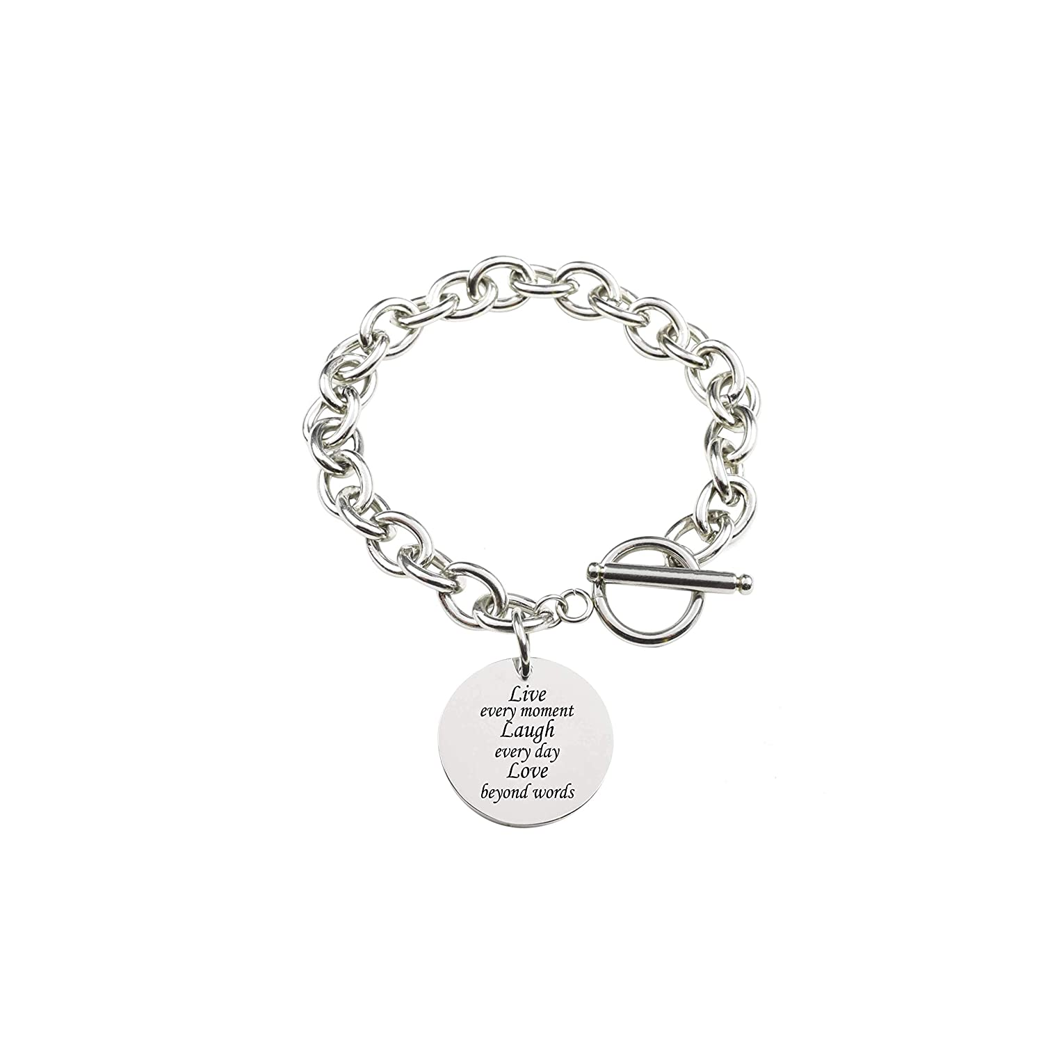 Silver Pink Box Solid Stainless Steel Inspirational Toggle Bracelet Live Laugh Love