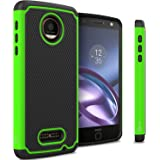 Moto Z Force Droid Case, CoverON [HexaGuard Series] Slim Hybrid Hard Phone Cover Case for Motorola Moto Z Force Droid Edition - Green Neon