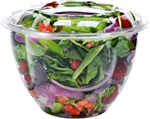 DOBI (50 Pack) Salad Container for Lunch, 48oz - Clear Plastic Disposable Salad Bowls with Lids, Large Size
