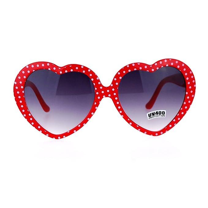 f3f893a81d Amazon.com  Womens Black Polka Dot Print Color Plastic Heart Shape Cutie  Sunglasses  Clothing