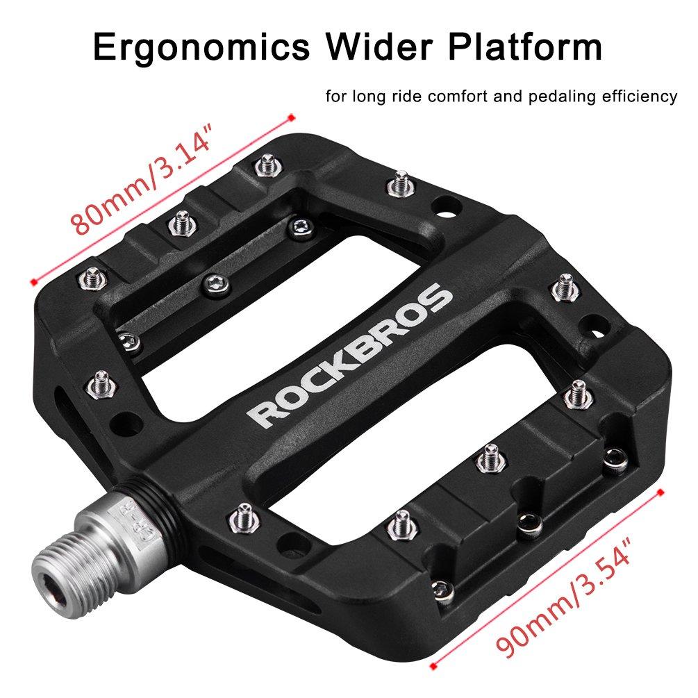RockBros Lightweight Mountain Bike Pedals Nylon Fiber Bicycle Platform Pedals for BMX MTB 9/16'' Black by ROCK BROS (Image #4)