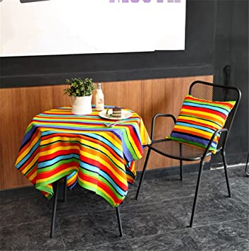 Hoomy Colorful Striped Tablecloth Square Cotton Table Cloth Rainbow Design Table  Covers For Round Table Durable