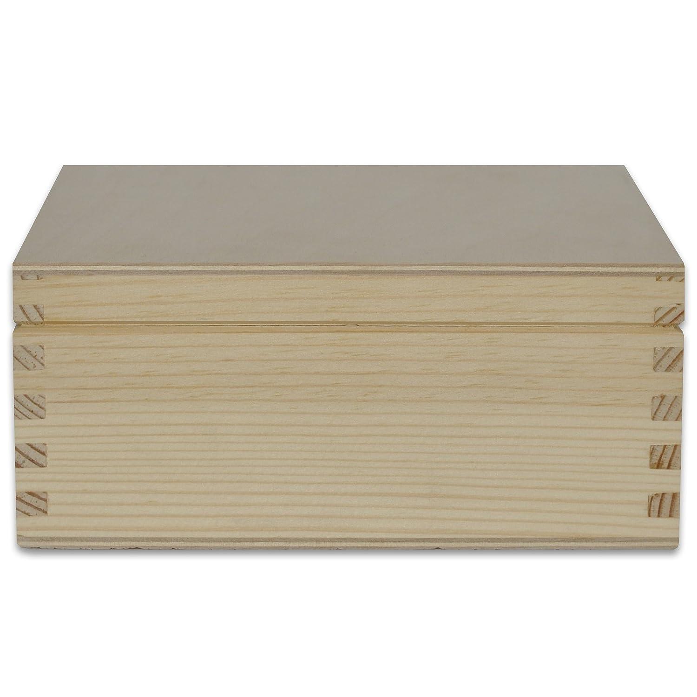 Creative Deco Cuadrada Caja Madera para Decorar con Tapa | 16,2 x 16,2 x 7,2 cm | con Cerradura de Botón | Decoracion Almacenaje Herramiente Decoupage ...