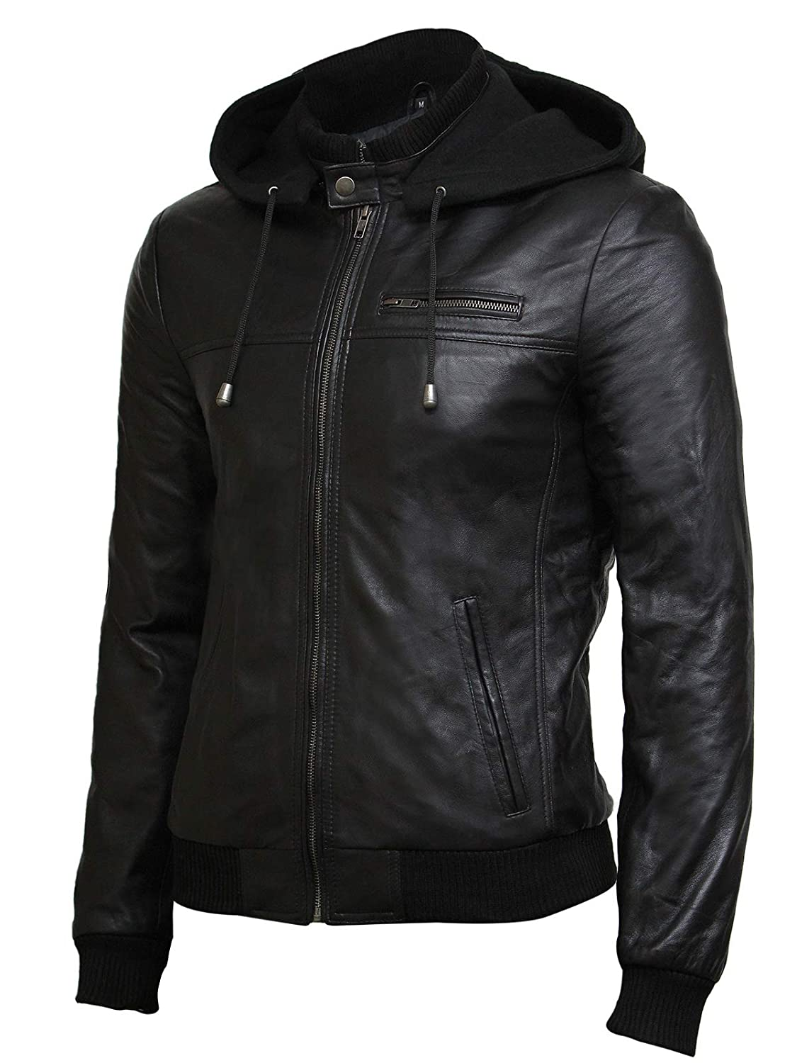 Mens Italian Sheep Nappa Leather Quilted lined Warm Premium Leather Jacket