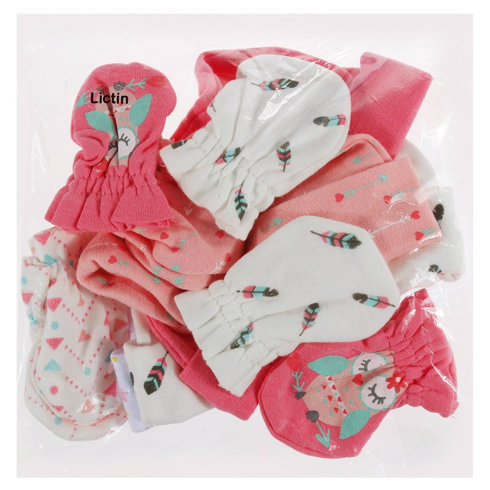 Lictin Newborn Baby Cotton Caps Mittens - 100% Cotton 4pcs Baby Cotton Caps Hats and 4 Pairs Baby...