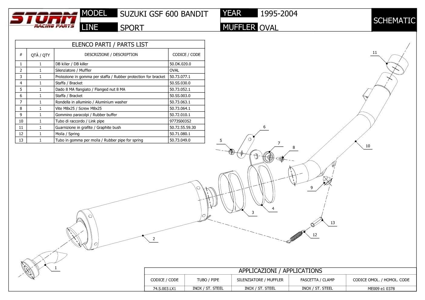 74.S.003.LX1B Escape Storm by Mivv Oval Nero Acero para Gsf 600 Bandit 2003 03