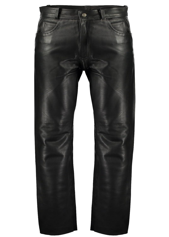 TALLA 48. Pantalones de piel clásicos ajustados (estilo de motero o informal), para hombre