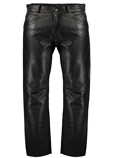 4828d85103385d Classic Fitted (Biker Motorcycle or Casual) Men's Leather Pants Trousers  (28) Black
