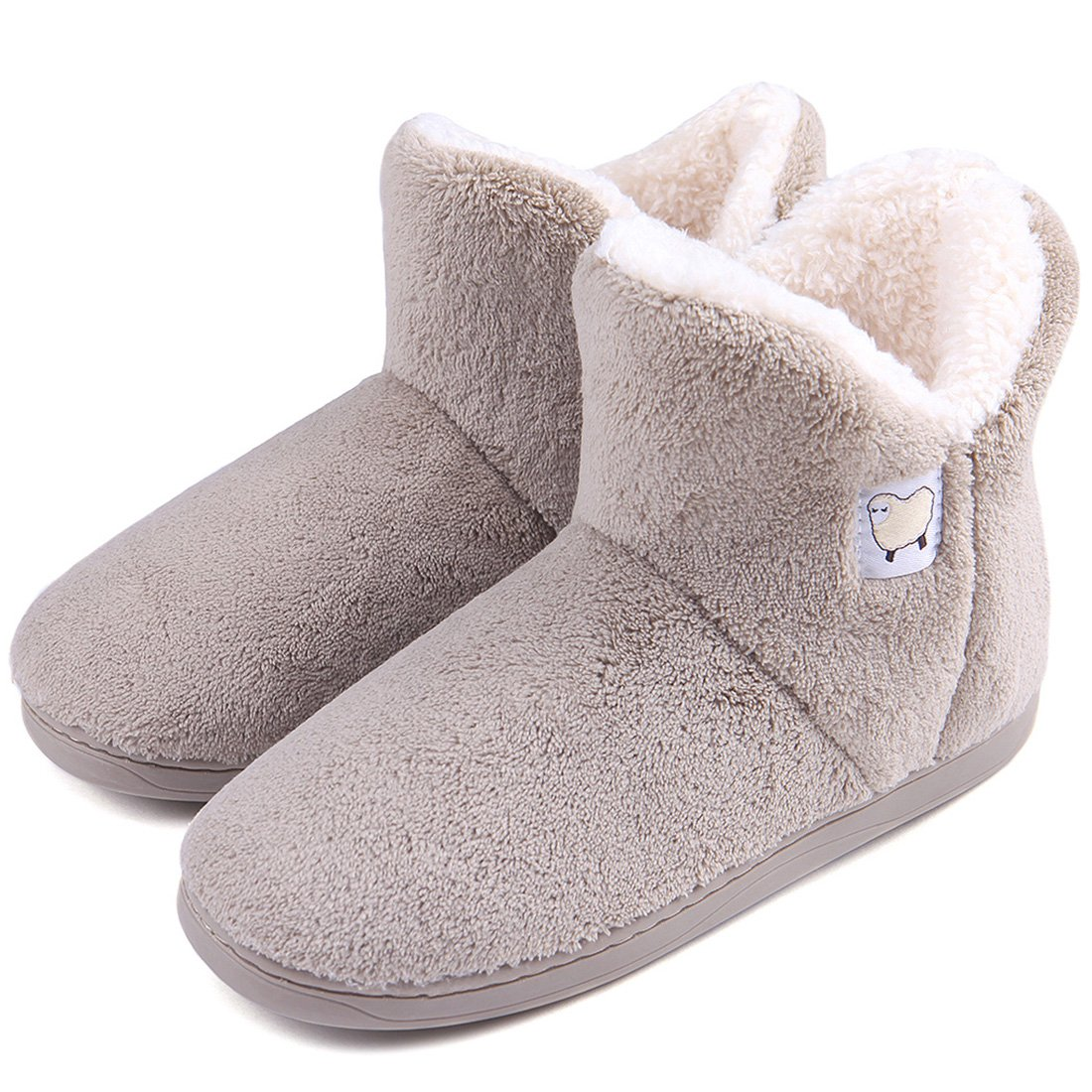 Dailybella Women Warm Plush Slipper Boots Cozy Wool Indoor Outdoor Home Shoes (7-7.5 B(M) US, Camel)