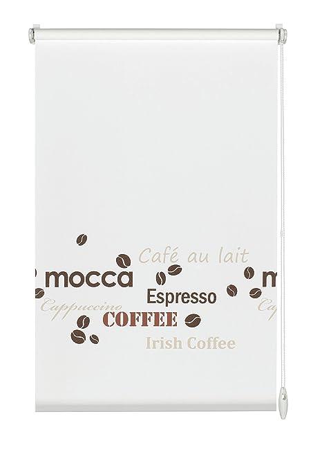 Gardinia 30934 Easyfix - Estor enrollable (60 x 150 cm, montaje sin tornillos), diseño de café con texto, color blanco, tela