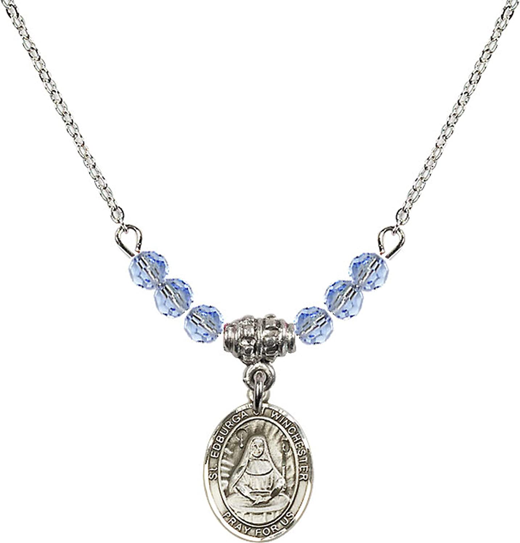 Bonyak Jewelry 18 Inch Rhodium Plated Necklace w// 4mm Light Blue September Birth Month Stone Beads and Saint Edburga of Winchester Charm
