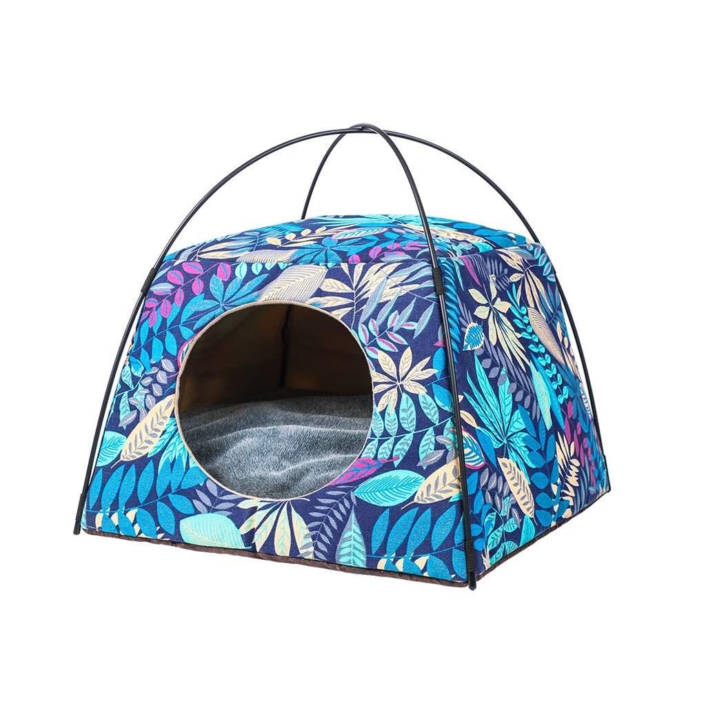 bluee SKennel Cat Litter Cat House Sofa House Dualuse Deformation Pet Nest 4 Season Washable Pet Tent Two colors Optional (color   Pink, Size   S)