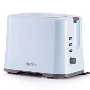Koryo Pop-up Toaster 1150 Watt KPT927 with Removable Crumb Tray and Lid Cover (Blue)
