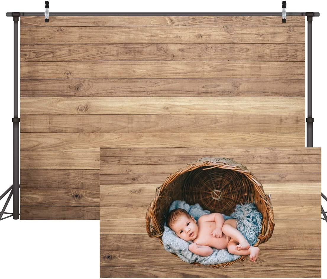 CYLYH 8x6ft Vinyl Wood Backdrop for Photography Rustic Natural Wood Floor Background Baby Shower Backdrops Party Newborn Baby Photoshoot Portrait Studio Props D178