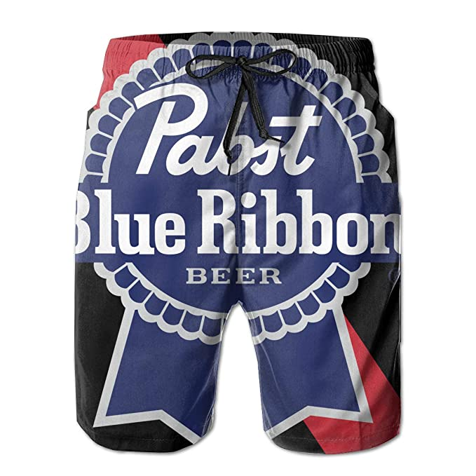 5bfc4bc63f Amazon.com: Men's Beach Shorts Pabst Blue Ribbon Beer Logo Summer Quick Dry  Swimming Pants: Clothing