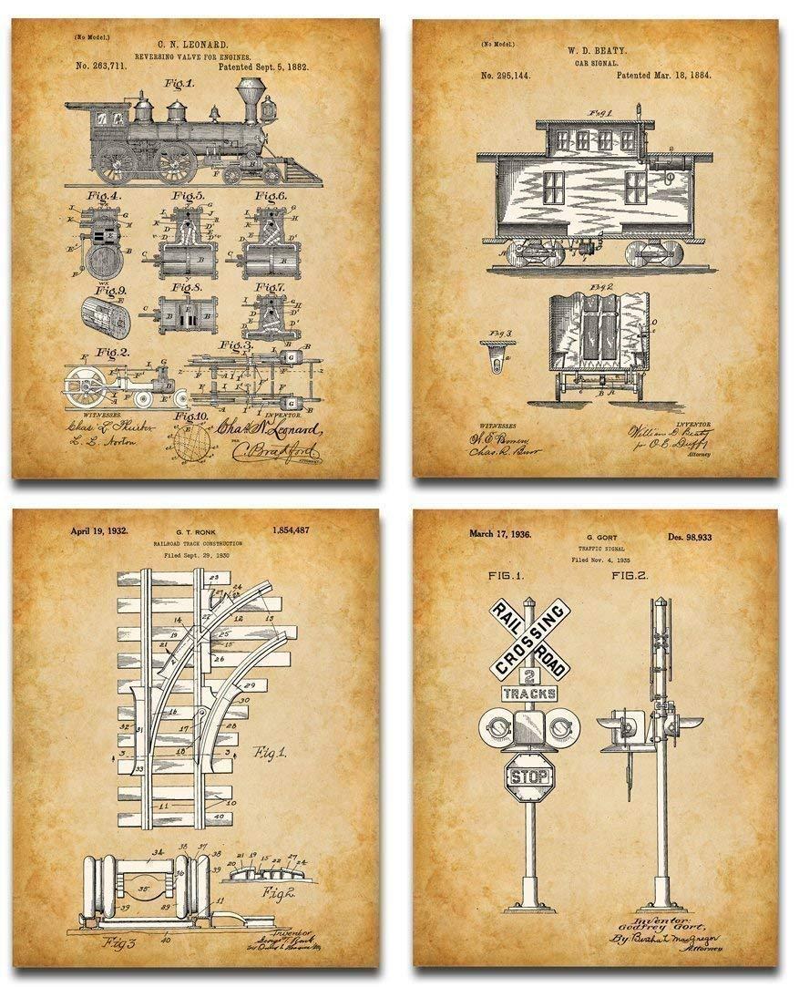 Original Railroad Trains Patent Art Prints - Set of Four Photos (8x10) Unframed - Makes a Great Gift Under $20 for Rail Fans