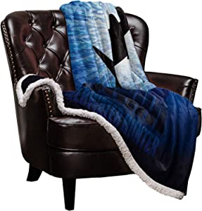 "Roses Garden Sherpa Fleece Blanket Shark Underwater Hunter Bed Blanket Soft Cozy Luxury Blanket 40""x50"" - Fuzzy Thick Reversible Super Warm Fluffy Plush Microfiber Throw Blanket for Couch"